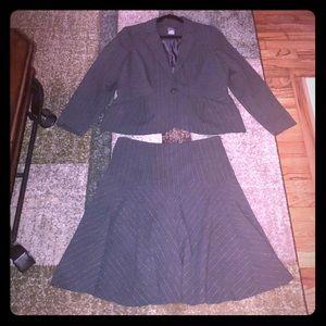 Gray pinstriped suit jacket & skirt set